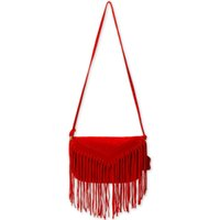Wholesale Leather Fringe Hobo - Beautiful HOBO Leather fringed bag All Leather Fringe Crossbody Bag-Cowhide small bag women's leather semicircular tassel Free Shipping