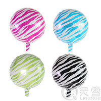 Wholesale Zebra Birthday - 20pcs lot 18inch zebra-stripe helium globos The zebra grain printed foil balloons Kids Gifts Children's Birthday Party Globos