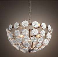 Wholesale flower led light chain - new design white color ceramic flower pendant chandelier with LED bulbs dinning room light free shipping LLFA