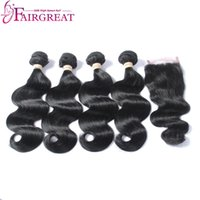 Wholesale Natural Smell - Amazingly Soft And Shiny, No smell,Body Wave Malaysian Human Hair, Unprocessed Virgin Hair 4 Bundles With Closure, No Tangle After Instal