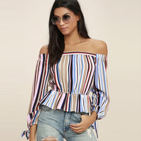 Wholesale Off Shoulder Long Sleeve Blouse - 2017042827 New Fashion Backless Tops Women Long Sleeve Off Shoulder Female Tops Elegant Striped Pleated Ladies Blouses Shirts