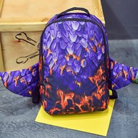 Wholesale cool canvas art - Purple feather backpack Sprayground fire wing packsack Cool pattern daypack Street pack bag Canvas rucksack Spray ground day pack