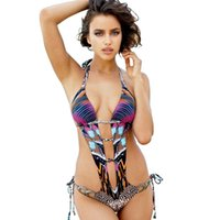 Wholesale Leopard Sexy One Piece - European bathing suits Pad Sexy Swimwear Swimsuits for women One-piece Leopard hollow out Backless High quality 2017 Summer hotsale