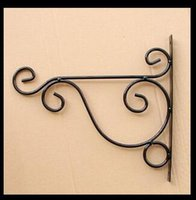 Wholesale Garden Sundries - Wholesale- Free shippping,1pc,white black,Wrought iron garden hook flower pots Diaopen basket wall hanger bracket with expansion screw