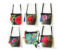 ethnisch gestickte handtaschen großhandel-Handgemachte gestickte Beutel der Frau 1pcs / lot Weinlesefrauen schultern Kuriertaschen kleine Handtaschen der ethnischen Art