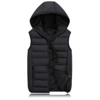 colete para moda masculina venda por atacado-Moda masculina colete de inverno homens colete com capuz moda masculina de algodão acolchoado colete jaqueta e casaco colete quente 3xl 2xl
