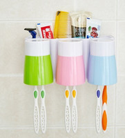 Wholesale Toothbrush Hanging Cup - Household Products Toothbrush Holder Suction Wall Type Toothpaste Box Brush Cups Set Rinse Cup Wall Hanging Sucker Bathroom Supplies