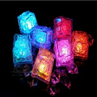 Wholesale Icing Decorations Wholesale - Ice Led Christmas Decoration Flash Ice Cube Water Led Light Put Into Water Drink Flash Automatically for Party Wedding Bars DHL