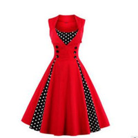 Wholesale Summer Sleeveless Polka Dot Dress - High Quality Vintange Women Ladies Hepburn Style Summer Dress Retro Short Sleeve Rockabilly Waist Big Swing Tutu Dresses 8colors