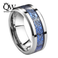 Queenwish Promise Rings 8mm Tungsten Carbide Ring Silver Meteorite Inlay Blue Celtic Dragon Bandas de casamento Mens Vintage Jewelry For Women