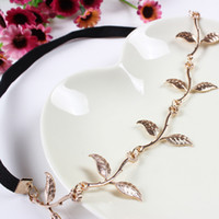 Moda Hot Sale Tiara Noiva Metal Gold Chain Flower Leaf Hairband para Casamento Bridal Hair Accessory Mulheres Forehead Jewelry