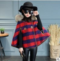 Wholesale Woolen Cloak Cape - Children poncho capes big girls plaid woolen double breasted princess shawl coat winter kids plush hooded thicken cloaks outwear R0155