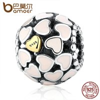 Wholesale Pink 925 Sterling Silver Beads - Pandora Style Darling 925-sterling-silver Abundance Of Love Pink Enamel Charm Fit Bracelet Gold Color Heart Jewelry Making PAS036