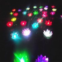 Wholesale Candle Pool - New 19 cm Colorful Changed LED Lotus Candle Lamp Floating Water Pool Wishing Light Lamps Lanterns for Wedding Xmas Party Decoration