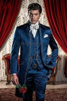 Wholesale Men S Vest Pants - Fashion- Classic Style Blue Embroidery Groom Tuxedos Groomsmen Men€s Wedding Prom Suits Custom Made (Jacket+Pants+Vest) K:248