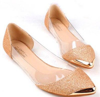 Wholesale asakuchi shoes for sale - Group buy 2017 new the chic metal pointed closed toe transparent shiny pointed Asakuchi ballet flat shoes women s shoes