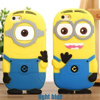Wholesale Despicable Silicon Iphone - Hot 3D Cute Soft Cartoon Silicon Me Yellow Minion Back Case Cover For iphone 7 6 6S plus Small Yellow People Capa despicable me Case