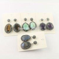 pflastern gemischte ohrringe großhandel-Neue Stil ~ 5 Paar Pave Strass Kristall Mixed Farbe Achat Stein baumeln Ohrringe Schmuck finden