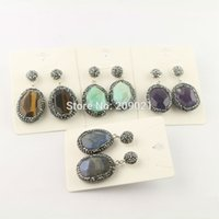 Nuevo Style ~ 5Pair Pave Rhinestone Crystal Mixed Color Agate Stone Dangle Earrings Jewelry Finding