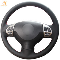 Wholesale Mitsubishi Lancer Wheels - Mewant Black Genuine Leather Car Steering Wheel Cover for Mitsubishi Lancer EX10 Lancer X Outlander ASX Colt Pajero Sport