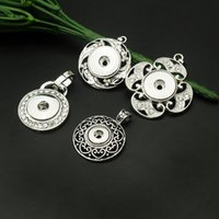 Wholesale Antique Pendants Fit Necklace - Mix 12 mm 18mm snap button Antique Silver Flower Heart Crystal Charms Pendant Fit Bracelet Necklace Charms handmade Diy jewelry accessories