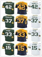 Wholesale Bart Shorts - custom Jerseys Men's #42 Morgan Burnett 15 Bart Starr 37 Sam Shields 33 Micah Hyde Home Green White elite Jersey