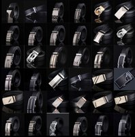 Wholesale Men Wholesale Belts Buckles - men's leather belt Fashion automatic buckle strap for Business Luxury casual s Waist Strap Belt Waistband 77 styles KKA1361
