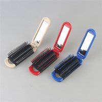 Wholesale HotFoldable Hair Comb with Mirror Hair Care Hair Styling Tools Two Way Handy Hairbrush Plastic Antistatic Folding Combs for travelling