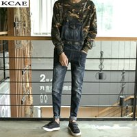 Wholesale Suspender Jumpsuit - Wholesale-Male Suspenders 2016 New Casual Denim Overalls Blue Ripped Jeans Pockets Men's Bib Jeans Boyfriend Jeans Jumpsuits Size 28-34