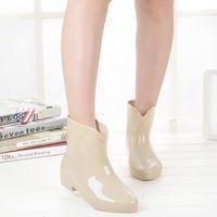 Wholesale Ankle Wellies - New Arrivals Women PVC Glossy Rain Boots Flat Heels Anti-slip Rainboots Waterproof Bowtie Water Shoes Skull Wellies ZJ186