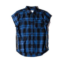 Plus Size XXL Baumwolle Casual Shirts Herren Side Reißverschluss Fashion Skateboard Rot Blau Schwarz Plaid Shirts Kanye West Swag Loose Style