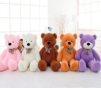 "Wholesale Giant Cheap Teddy Bears - Wholesale- 1Pcs 39""100cm Giant Teddy Bear Plush Toys Stuffed Teddy Bear Cheap Pirce Gifts for Kids Girlfriends Christmas Kawaii Plush Toys"