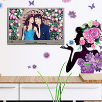 Wholesale Wall Stickers Women - 60*80cm Beautiful Woman Wall Stickers DIY Art Decal Removeable Wallpaper Mural Sticker for Television Walls Bedroom Liveing Room