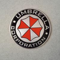 adesivo guarda-chuva venda por atacado-Metal 3D Umbrella Corporação Etiqueta Resident evil Rodada Retângulo de Alumínio Do Carro Emblema adesivo Direto Da Fábrica frete grátis 10 pçs / lote