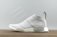 2017 Con Caja NMD R1 Runner Hombres Real Boost City Sock Primeknit Blanco Gris Zapatillas NMD R1 S32191 Sneakers