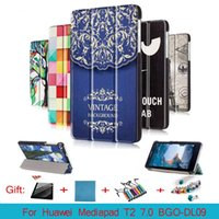Wholesale Cy Pinks - CY Fashion Colored Drawing Pu Leather Stand Case Cover Shield For Huawei MediaPad T2 7.0 BGO-DL09 Tablet PC With magnetic