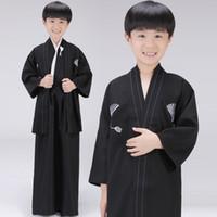ingrosso yukata-Q228 nero giapponese ragazzi kimono bambino guerriero tradizionale swordmen yukata kid stage performance abbigliamento costume cosplay