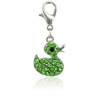 Wholesale Ducks Charms - Fashion Charms With Lobster Clasp Dangle Rhinestone Duck Animals Pendants DIY Charms For Jewelry Making Accessories
