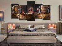 Wholesale Large Oil Canvas Art - 5pcs set Large HD Printed Canvas Print Painting Casks Wine Home Decoration Wall Pictures for Living Room Wall Art on Canvas