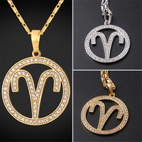 Wholesale Gold Zodiac Necklace - U7 New Zodiac Charms ARIES Pendant Necklace Simple Women Men Jewelry Gift Rhinestone Gold Platinum Plated Necklace Perfect Gifts P2503
