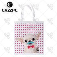 Wholesale Moustache Bags - Wholesale- Pink Dot cute Tiny Chihuahua Moustache Red Bow Tie Print Custom individual lightweight polyester fabric Reusable Bag gift