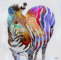 zebra yağı tuvali toptan satış-Çerçeveli Komik Renkler Zebra, Saf El Boyalı Modern Duvar Dekor Pop Hayvan Sanat Yağlıboya Kalitesi Canvas. Multulti boyutları Ücretsiz Kargo A026