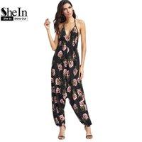 Wholesale Womens Wholesale Harem Pant - Wholesale- SheIn Womens Jumpsuit Long Pants Black Floral Print Halter Neck Harem Jumpsuit V Neck Sleeveless Sexy Jumpsuit