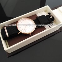 Wholesale Canvas Water Round - Black Nylon Canvas Strap Men Watches Waterproof Casual Women Quartz Watch +Leather Box Relogio Masculino Military Sports Watch Gold Silver