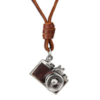 "Wholesale Camera Necklace Leather - Retro Camera Pendant Necklace Literary And Artistic Style 30"" Genuine Leather Chain Couple Necklace Black Brown Statement Necklaces"