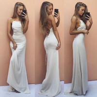 Wholesale Navy Blue Silk Robe - Sexy Criss Cross Straps Backless Evening Dresses Simple White 2017 Cheap Sheath Halter Prom Dresses Floor Length Robe de soriee