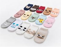 Wholesale Wholesale Kids Brand Shoes - Baby Boat Socks Children's Shoes Antiskid Non-slip Bottom Cartoon 9-15cm kids toddle socks cotton