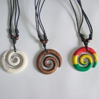 Wholesale Spiral Charm Necklace - Wholesale-Tribal White Brown Rasta Keltic Spiral Swirl Charm Pendant Necklace Adjustable