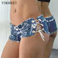 Wholesale Sexy Low Rise Skinny Jeans - 2017 Low Waist Distressed Low Rise Mini jeans Summer Lace up Sexy Super Hole Button Short Pants Skinny Tassel Short Jeans 1616