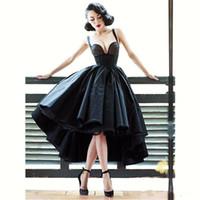 ingrosso vestito nero sexy da promenade basso indietro-Abiti da cocktail sexy poco vestitino nero con spalline corto anteriore corto lungo backless ultimo abito abito da ballo con vestitino basso